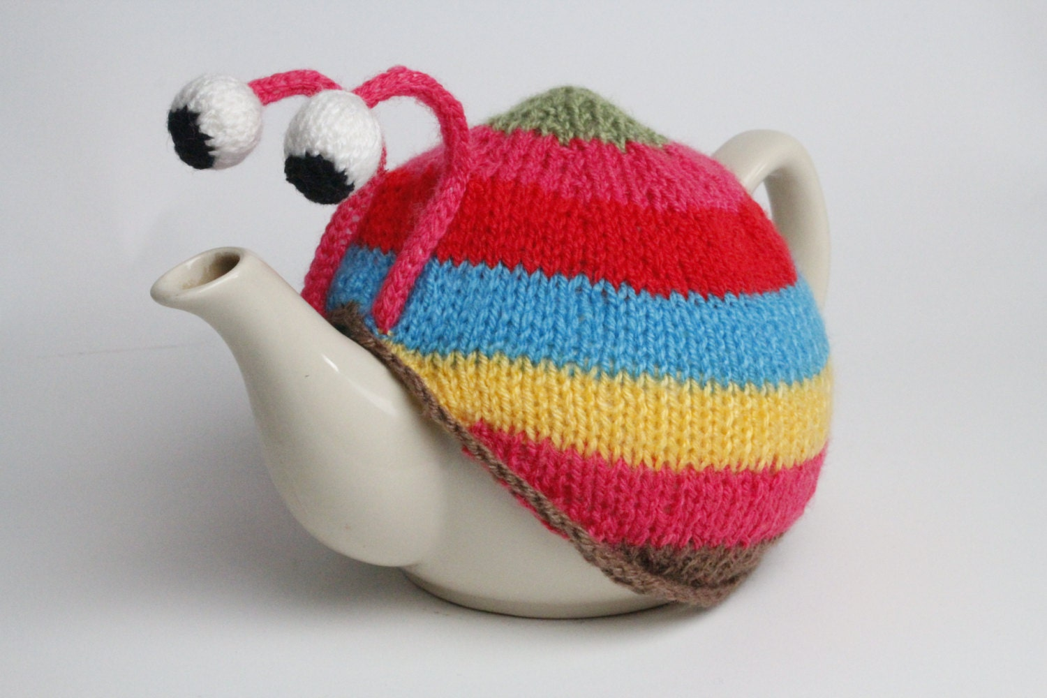 Knitting Pattern For Snail Tea Cosy : Knitted stripy snail tea cosy in pink or blue. Tea by RupertsHouse