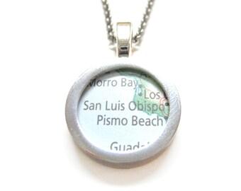 San Luis Obispo California Map Pendant Necklace