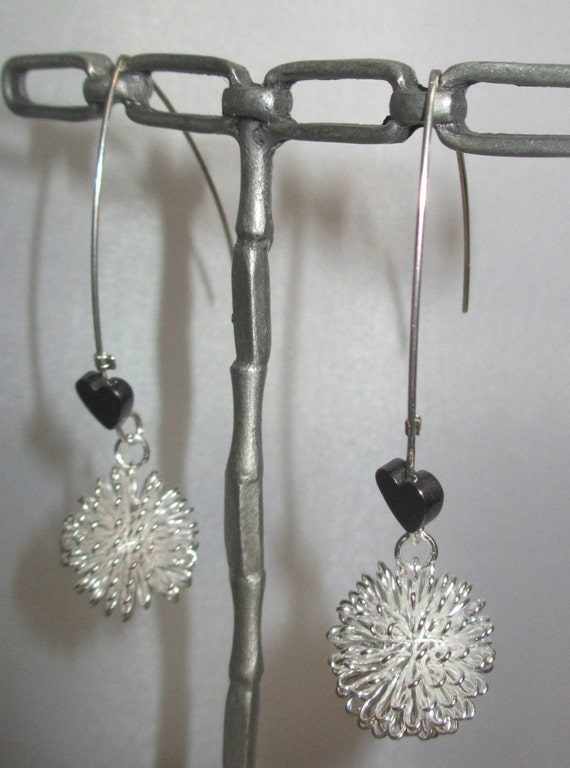 Sweet dangle sterling mesh ball with hematite heart accent