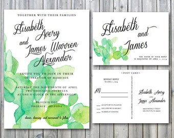 Cactus Wedding Invitation Deposit - Desert Wedding Invite - Succulent Wedding Invitation