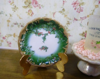 Christmas Limoges Style  Miniature Plate 1:12 scale