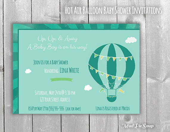 boy baby shower hot air balloon invitations by mudpiesoup on etsy