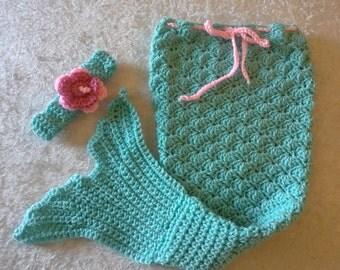 finished crochet mermaid tail and headband