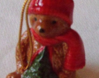 Brown Bear with Tree Christmas Ornament