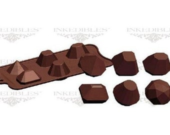 Geometric-Shaped 3D Silicone Chocolate Mold (Creates 6 Geometrically Shaped Chocolates, 3 Dimensional)