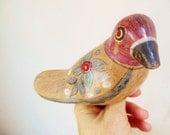Vintage Mexican Tonala Pottery Bird Figurine - FreewheelFinds