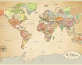 Cotton Anniversary Gift - Push Pin World Map - Travel World Map - Wedding Anniversary - Travel Map 24x36