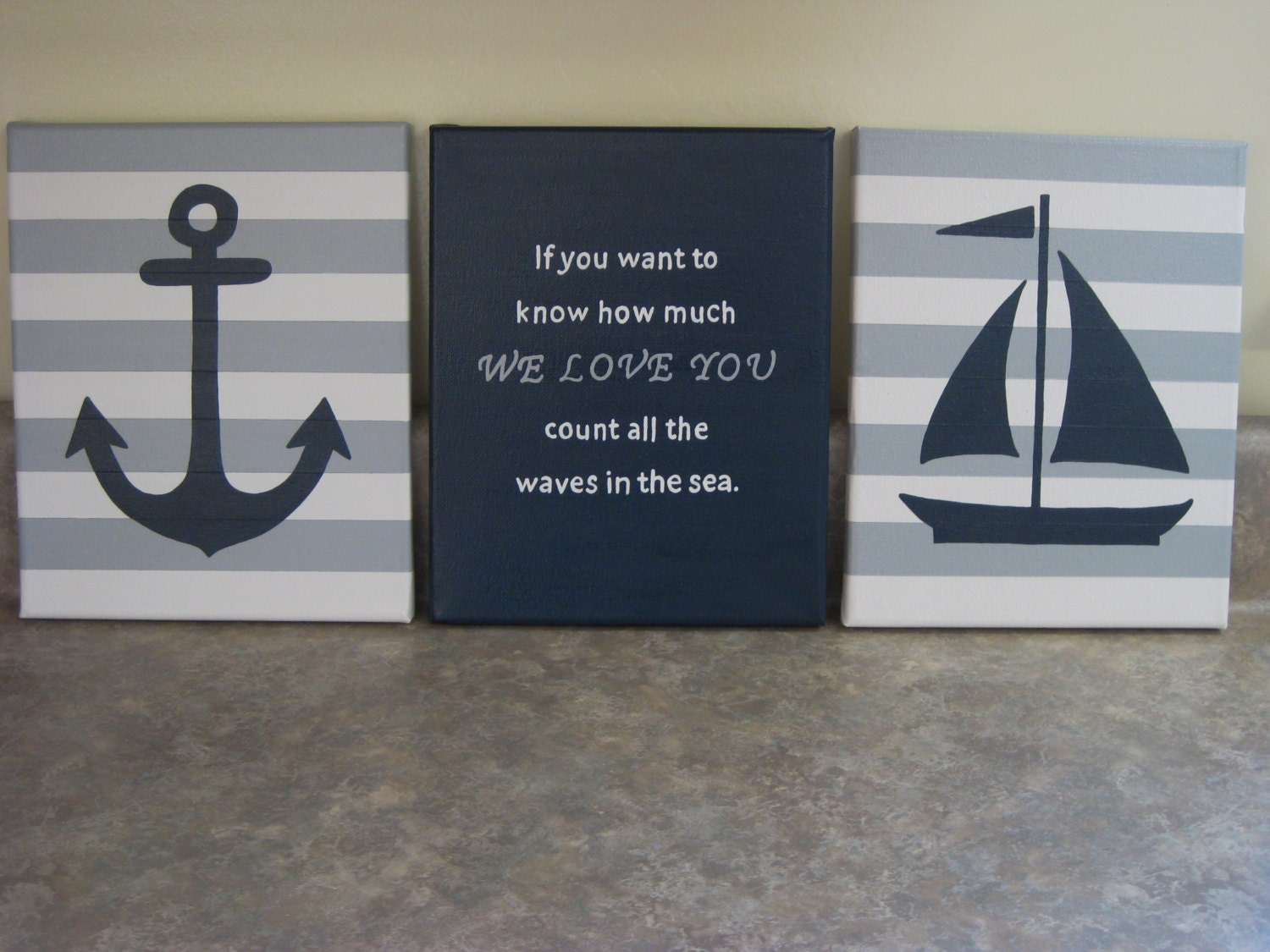 Nautical nursery wall decor baby boy girl nautical 8x10 for Anchor decoration