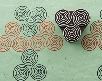 Spirals, hand crafted wooden stamp