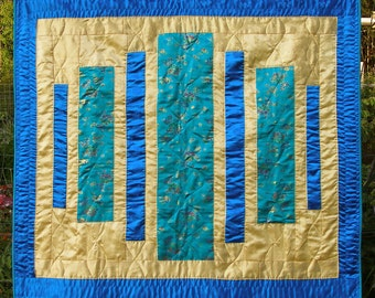 Korean Silk Quilt, contemporary design in Blue and Gold
