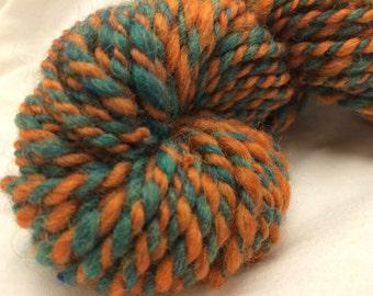 Handspun Wool Yarn, 2-ply, Teal/Pumpkin, Heavy Worsted, Approx 46 Yards
