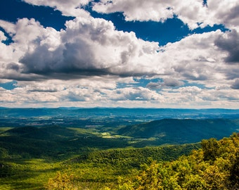 Shenandoah Valley and Appalachian Mountains from George Washington National Forest, Virginia - Nature Fine Art Print or Wrapped Canvas