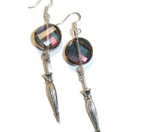 Umbrella Earrings Romantic Earrings Gift for her Rainy day earrings Fancy crystal earrings Rain Earrings Fun Earrings Topaz rainbow unique
