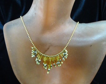 Vintage Gold Tone Beaded Necklace