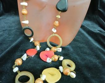 Vintage Long Multi Colored & Multi Shaped Plastic Necklace