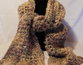 Brown and Tan Varigated Crochet Scarf