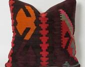 Kilim Cushion Cover - Kilim Pillows Etsy Tribal Pillow Case Throw Pillows Modern Pillows For Sofas Retro Home Decor Orange Coral Red Pink