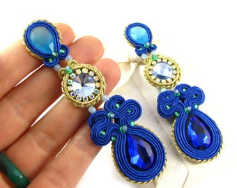 Blue wedding earrings for bride, long blue bridal earrings, soutache earrings, cobalt sapphire wedding earrings, bridesmaid earrings