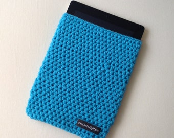 Crocheted blue ipad tablet cover