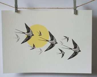 Flying Swallows A4 print