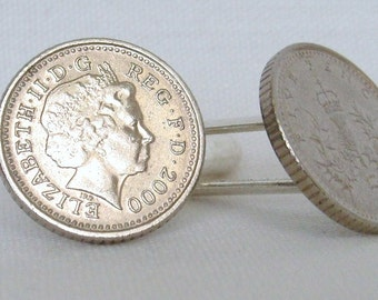 Boxed Pair  British 2000 Five Pence Penny Coin Cufflinks Wedding Birthday Anniversary