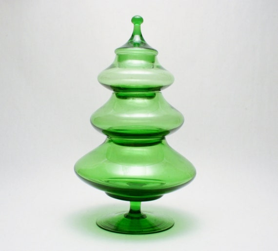 italian tree stacked glass dish in emerald