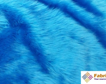 Turquoise Pile Luxury Shag Faux Fur Fabric by the yard for costumes, coats, vests, home and studio use 4460