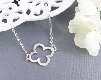 Clover Quatrefoil Leaf Charm Necklace, Graduation Necklace, Gift For Girls, Gift for Best Friend, Birthday Gift, Tiny Necklace