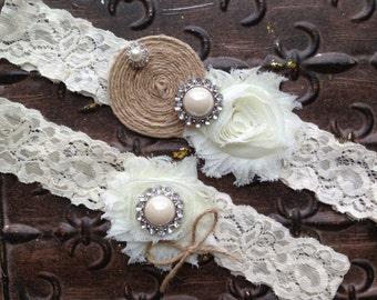 Burlap Wedding Garter, Lace and Burlap Garter, Burlap Garter Set, Rustic Wedding Garter, Bridal Garter Set, Burlap Garter, Rustic Garter