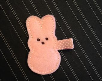 Easter Bunny Hair Clip - Felt Clippie - Pink Hair Clip - Marshmallow Bunny - Girl's Holiday Clip