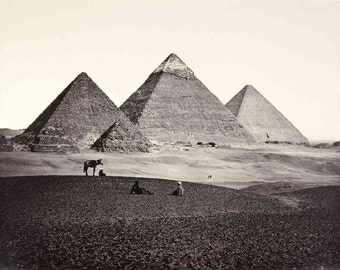 Oldest known photo of the Pyramids at Giza- Egypt 1859 - North Africa Photo Print