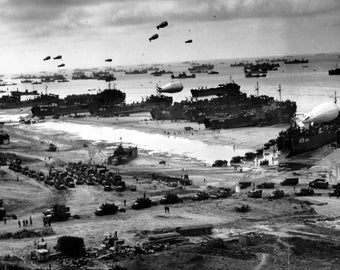 "Invasion of Normandy 1944  ""D-Day"" France WW2 Photo Print"