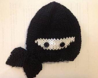 Tiny Warrior - Itty Bitty Ninja Hand-Knit Newborn Baby Hat in Black