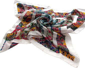 square silk scarf Silk Horses. Hand painted silk scarf. Orange, white, magenta, blue painted silk. READY to SHIP