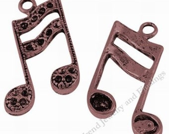 5 Large Music notes CHARMS, Antique tibetan copper charms, Copper Findings,  Eigth Note, Music Theme - 8th note, Musical Charms -MC0113