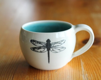 Made to order - Cappuccino mug with dragonfly silk screen