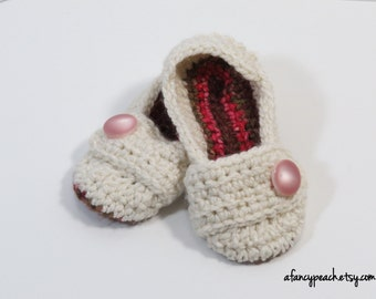Crochet House Slippers, Shoes, Size 3-4 Ready to Ship