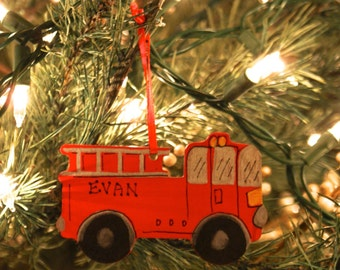FIRE TRUCK Ornament, Red. Hand Personalized, Painted Wood. Christmas Ornament. Children's Ornament. Gift Topper. Gift Tag. Keepsake.