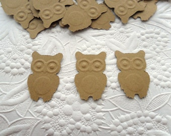 50 Kraft Owl Confetti-1 Inch-Scrapbooking-Gift Wrapping-Embellishments-Baby Shower-Girl-Boy-Birthday Party-Punches