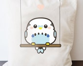 White-blue budgie - bag - long handle shopping