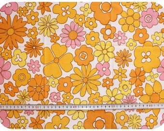 Floral retro vintage fabric NOS / New Old Stock - orange, yellow and pink