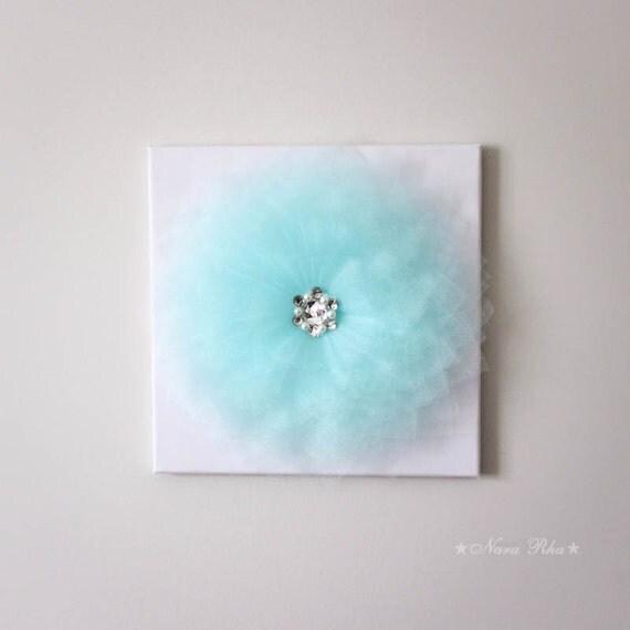 Glimmer aqua wall flower decor fiber art 3d flower art by for Room decor embellishment art 3d