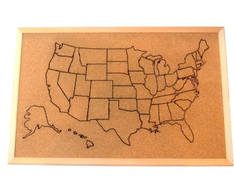 Corkboard Map Etsy - Framed us map