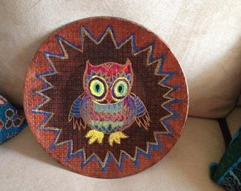 Hand Painted Bohemien Cute Hoot  Owl Resin Plate  P0010