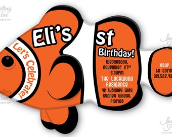 Clownfish 1st, 2nd, 3rd, 4th, 5th Birthday Party Invitation-Printable-Customized-Let's Celebrate-Orange,Black,White,Cut to Shape,Die Cut