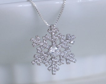 Snowflake Necklace, Sterling Silver and CZ Snowflake Pendant on Sterling Silver Box Necklace Chain
