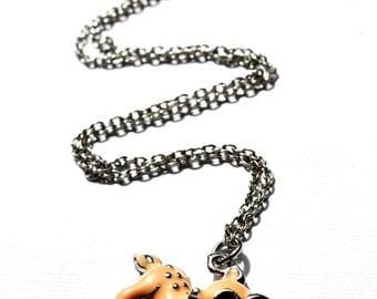 Bambi Deer enamel necklace