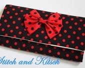 Black and Red Polka Dot with Red and Black Bow Crochet Hook and DPN Holder/Case/Organizer Kitsch Bow