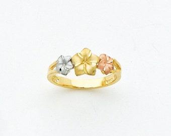 14k Tricolor Plumeria Ring, Tricolor Plumeria Ring, Plumeria Ring, Plumeria, Tricolor Ring, 14k Tricolor Ring, Tricolor Plumeria, Flowers