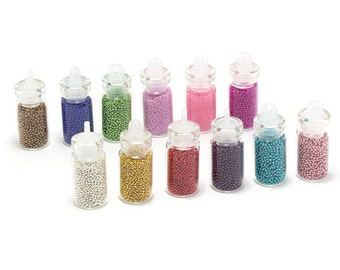 Set of 12 Caviar Nail Microbeads - Assorted Colors
